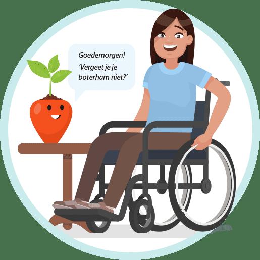 afbeelding vrouw in rolstoel