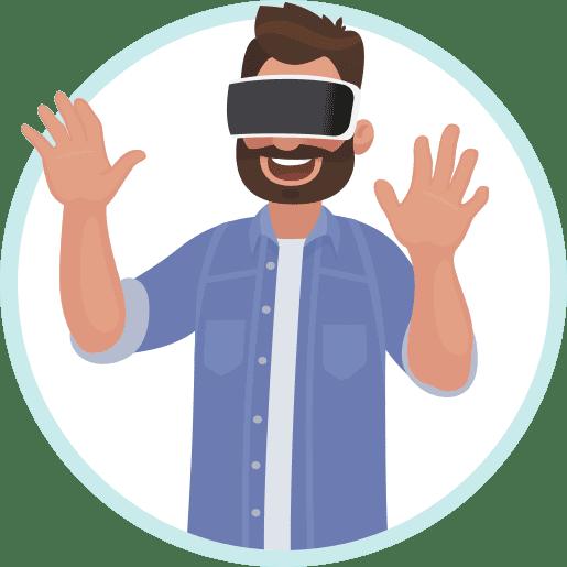 afbeelding persoon met VR bril